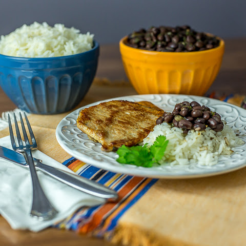 Rice, Black Beans and Pork Chops