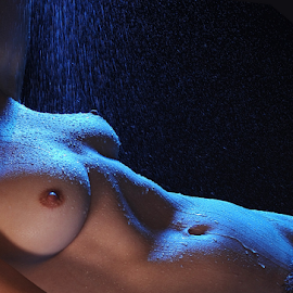 Water is life by Vineet Johri - Nudes & Boudoir Artistic Nude ( water, vkumar, girl, helen diaz, dripping, artistic nude, blue lighting, shower, sensual, , Lighting, moods, mood lighting )