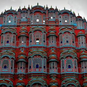 by PINAKI MITRA - Buildings & Architecture Other Exteriors ( hawa mahal, jharokha, wind, jaipur, wind palace, rajasthan, sandstone, stone, architecture, red, window, royal, pink city, india, pink, palace )
