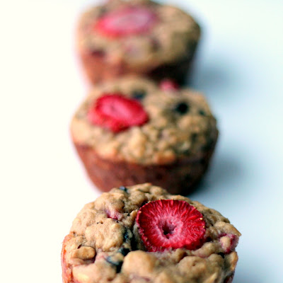 Strawberry + Banana Chocolate Chip Oat Muffins