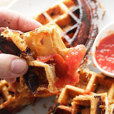 Crisp, Flaky, Pepperoni Pizza Puff Pastry Waffles