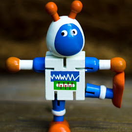 Dancing robot by Sandra Bratlie - Novices Only Objects & Still Life ( toys, children, robot, blue, orange. color )