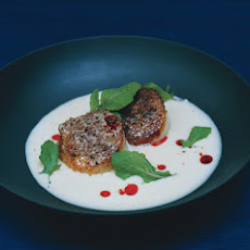 Barbecue-Rubbed Scallops with Creamy Sauerkraut Soup