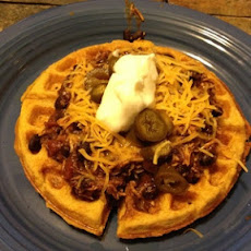 Chicken Chili with Jalapeno Cornbread Waffles