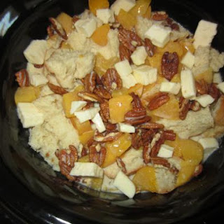 Crock-Pot Bread Pudding with Peaches & Pecans