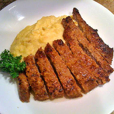 Lemon Chicken Fried Steak with Polenta
