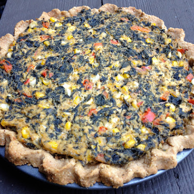Vegan Quiche with Swiss Chard, Corn and Red Pepper