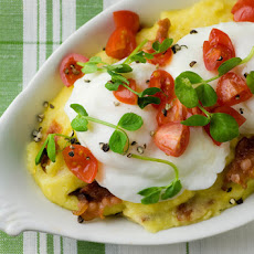Poached Eggs with Bacon Polenta and Cherry Tomatoes