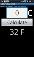 Screenshot of Celsius to Fahrenheit