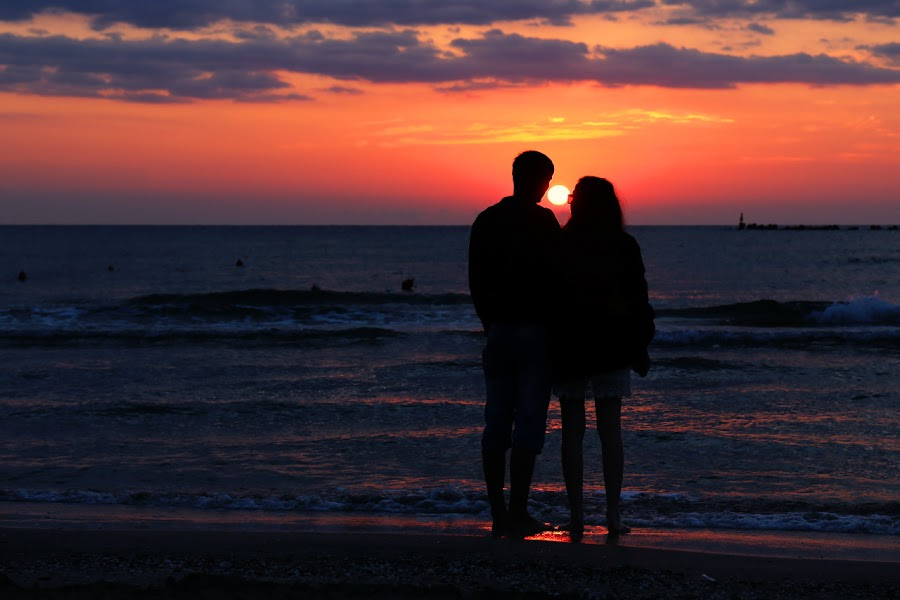 Two and sun by Nicu Buculei - People Couples ( sea, couple, sunrise, beach,  )