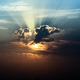 Ray Of The Sun Light by Morhaf Aljanee - Landscapes Cloud Formations