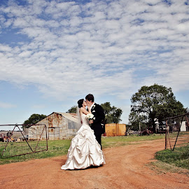 Blue Sky by Alan Evans - Wedding Bride & Groom ( clouds, wagga wagga wedding photographer, wedding photography, blue sky, wedding day, wedding, aj photography, outback, rustic )