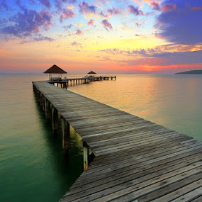 Path Way to see Sunrise by Prachit Punyapor - Landscapes Waterscapes ( water lonely, colorful sky, colorful cloud, horizon, pier, sunrise, seascape, wooden bridge )