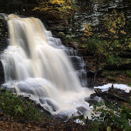 Erie Falls, 2014.10.16 by Aaron Campbell - Instagram & Mobile iPhone ( rickettsglan, iphone5s, autumn, waterfall, slowshutter, october, statepark, fallstrail, ganogaglen )