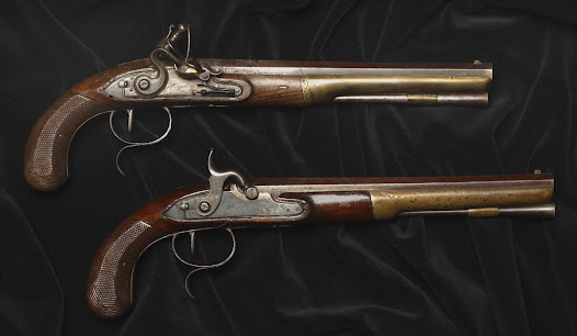 "On July 11, 1804, Hamilton and Burr met at Weehawken, New Jersey, shortly after dawn. The pistols, which belonged to John Church, Elizabeth Hamilton's brother-in-law, had been used in Hamilton's son Philip's fatal duel three years earlier.  Following protocol, Hamilton and Burr stood twenty paces apart, and fired at the command ""Present."" Hamilton's shot went high and wide. Burr's pierced Hamilton's abdomen and lodged in his spine. Hamilton was rowed to Manhattan, where he died the following day."