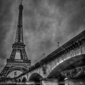 la tour eiffel by Pierre Husson - Buildings & Architecture Public & Historical ( paris, tour eiffel, hdr, black and white, dramatique,  )