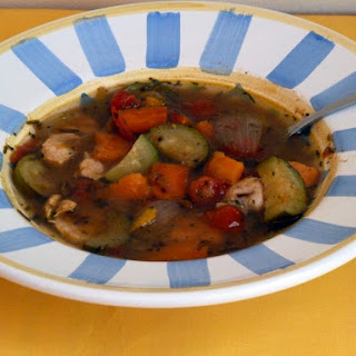 Chicken Provencal Soup with Carrots, Zucchini and Sweet Potato