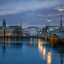Bridge to Stockholm by Matt Shell - City,  Street & Park  Vistas ( water, sweden, stockholm, bridge, landscape )