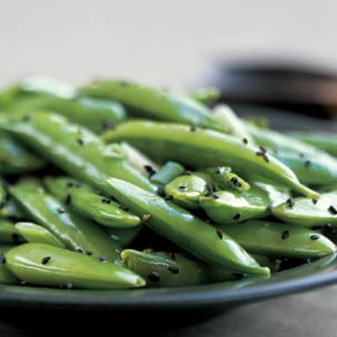 Steamed Sugar Snap Peas with Black Sesame Seeds