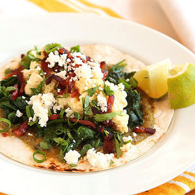 Breakfast Tacos with Eggs, Spinach, and Bacon