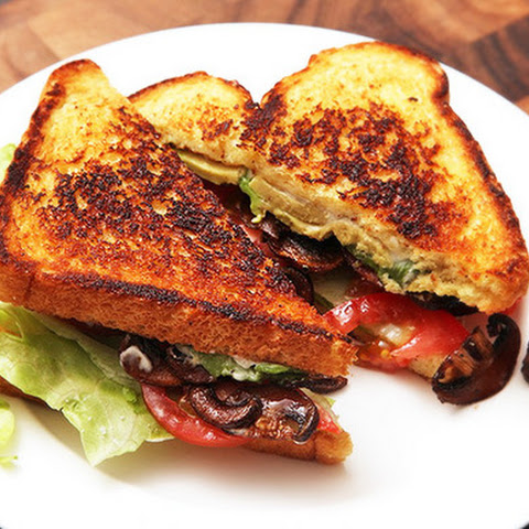 Lettuce, Tomato, Avocado, and Crispy Smoked Mushroom Sandwiches