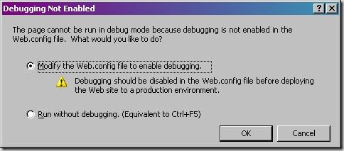 Step005 - Run - Modify the Web.config file to enable debugging