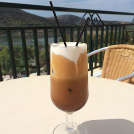 Fredo coffee by the beach by Cathie Theofanis - Food & Drink Alcohol & Drinks ( coffee, summer, beach )