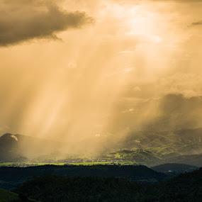 God light over suburb village at north of Thailand by Vorravut Thanareukchai - Landscapes Prairies, Meadows & Fields ( field, village, thailand, north, landscape, light )