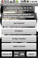 Screenshot of Joel's Baseball Trivia