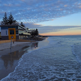 High tide by Pamela Howard - Landscapes Beaches ( water, sky, henley beach, slsc, australian, lifesaving, club, sea, beach, surf, high tide )