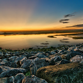 loughor estuary wales by Loizos Christodoulides - Landscapes Waterscapes ( uk, setting sun, waterscape, wales, sunset, loughor, lake, south wales, landscape, rocks )
