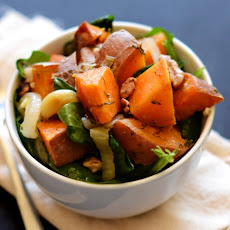 Dill Roasted Sweet Potatoes + Warm Spinach Salad