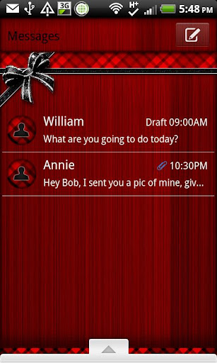 GO SMS - Red Plaid Bow