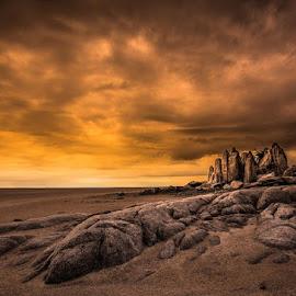 Early Morning at the Rocks by Rick Venter - Landscapes Sunsets & Sunrises ( botswana, kubu island, rock, sunrise, africa )