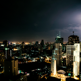 LIGHTS IN THE NIGHT by Frank Photography - City,  Street & Park  Night ( skyline, lightning, bangkokj, asia, night, hight, city, fear )