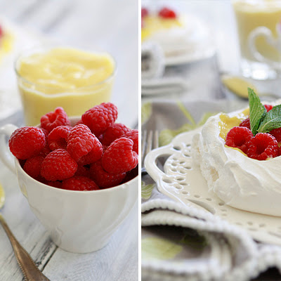 Pavlova with Raspberries and Lemon Curd