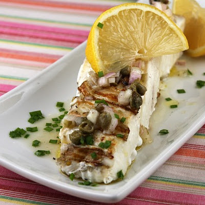 Grilled Halibut with Lemon- Caper Vinaigrette