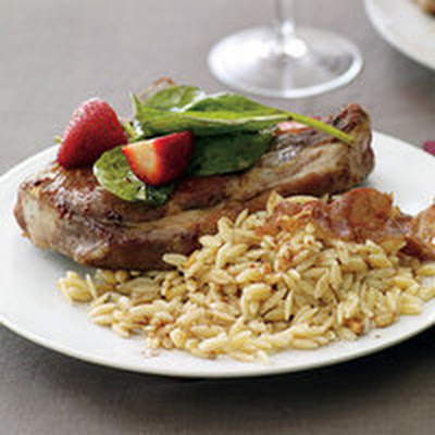 Pork Chops with Balsamic Strawberry Salad and Pine Nut Orzo
