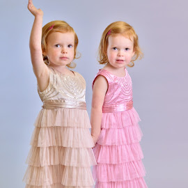 Twin dance by Melanie Pista - Babies & Children Child Portraits ( girls, pink, siblings, dance, twins )
