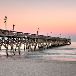 Pier at Sunset by Cathie Crow - Buildings & Architecture Bridges & Suspended Structures ( piers, nature, hdr, sunset photography, sunset, ocean, hdr photography, natures beauty )