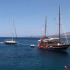 Boats on Thassos by L.L. Vynterchilld - Transportation Boats ( thassos, cruising, sailing, greece, boats, sea, ships )