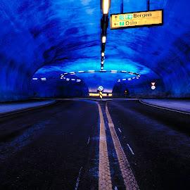 Blue tunel by Sondre Gunleiksrud - City,  Street & Park  Street Scenes ( canon, streetphotography, hdr, blue, street, street scene, street photography, norway, tunnel )