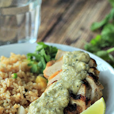 Grilled Chicken withTomatillo Roasted Poblano Cream Sauce