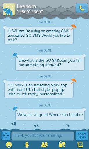 玩通訊App GO短信雨天主题免費 APP試玩