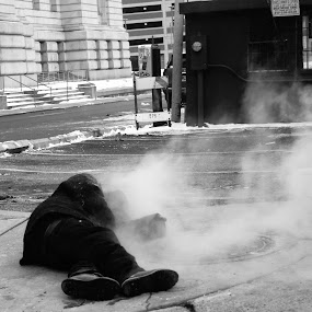 Keeping Warm by Chuck Hildebrandt - People Street & Candids ( urban, person, homeless, detroit, steam,  )