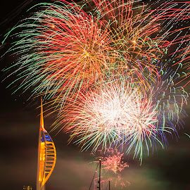 Spinnaker Tower fireworks by Robert Clarke - Buildings & Architecture Public & Historical ( portsmouth, tower, night photography, fireworks, long exposure, spinnaker tower, nightscape )