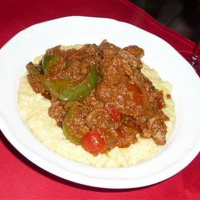 Chicken Livers with Gorgonzola Polenta