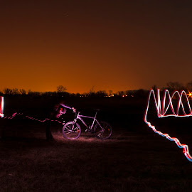 Bicycle by András Sziffer - Abstract Light Painting ( orange, after sunset, light, people, bicycle )