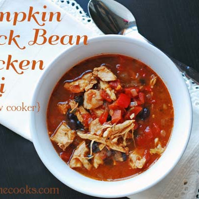 Pumpkin Black Bean Chicken Chili in the Slow Cooker
