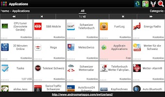 Screenshot of Swiss applications